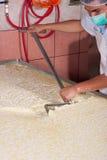 Lavoratore di impianto di produzione del formaggio Fotografia Stock