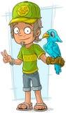 Lavoratore diritto dello zoo del fumetto in cappuccio verde royalty illustrazione gratis