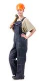 Lavoratore manuale in camici con un martello Fotografia Stock Libera da Diritti