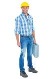 Lavoratore manuale con il martello e la cassetta portautensili Fotografie Stock Libere da Diritti