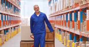 Lavoratore maschio del magazzino che per mezzo del camion di pallet video d archivio