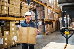 Lavoratore maschio senior del magazzino che scarica le scatole da un camion di pallet Immagini Stock