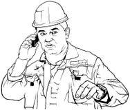 Lavoratore nelle chiamate del vestito del lavoro royalty illustrazione gratis