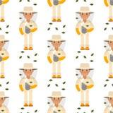 Lavoratore rurale del giardiniere del modello dell'uomo del silvicoltore del carattere dell'apicoltore dell'agricoltore del fondo illustrazione vettoriale