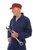 Lavoratore senior con la chiave Fotografie Stock