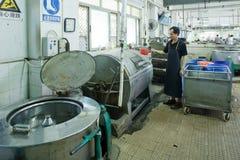 Lavoratore in una fabbrica cinese dell'indumento immagine stock libera da diritti