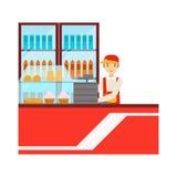 Lavoratore in uniforme di rosso con il frigorifero con l'assortimento delle bevande, Person Having sorridente un dessert nel vett Immagini Stock Libere da Diritti