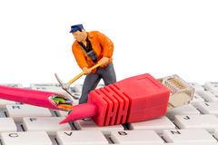 Lavoratori, connettore della rete, tastiera Immagine Stock Libera da Diritti
