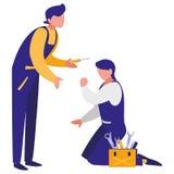 Lavoratori dei meccanici con i caratteri della cassetta portautensili royalty illustrazione gratis