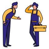 Lavoratori dei meccanici con i caratteri della cassetta portautensili illustrazione vettoriale