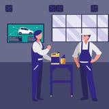 Lavoratori dei meccanici con i caratteri di gallone dell'olio illustrazione vettoriale