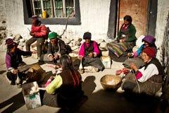 Lavoratori di un villaggio tibetano del sud a distanza Fotografie Stock Libere da Diritti