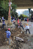Lavoratori migranti che piantano gli alberi sotto il ponte fotografia stock libera da diritti