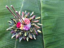 Lavorazione di Krathong dei materiali naturali per Loy Kratong Festival fotografia stock