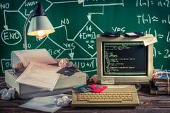 Lavori all'algoritmo nel laboratorio d'annata del computer Fotografie Stock