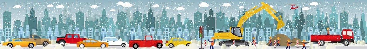 Lavori alle strade (ingorgo stradale) - l'inverno royalty illustrazione gratis