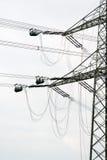 Lavori di costruzione ad alta tensione del palo di potere Immagini Stock