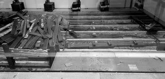 Lavori di costruzione del pavimento di legno Fotografia Stock