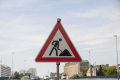 Lavori di costruzione del segnale stradale Immagine Stock