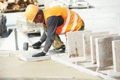 Lavori di costruzione della pavimentazione del marciapiede Immagine Stock Libera da Diritti