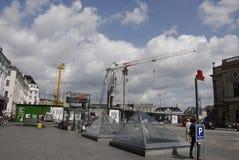 Lavori di costruzione di DENMARK_metro Fotografia Stock