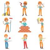 Lavori di costruzione e costruttori dei bambini messi Fotografie Stock Libere da Diritti