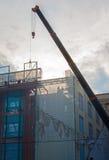 Lavori di costruzione sui precedenti di tramonto Immagini Stock Libere da Diritti