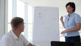 Lavori i partner che discutono il nuovo sviluppo di affari di idee nell'ufficio moderno stock footage