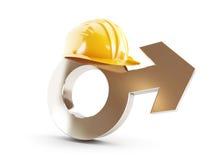 Lavori per gli uomini, casco della costruzione dell'uomo di simbolo Fotografia Stock