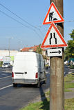 Lavori stradali e segnali stradali dell'impasse Immagini Stock