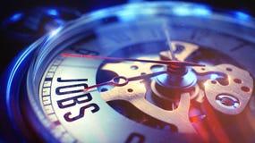 Lavori - testo sull'orologio d'annata 3d Fotografia Stock Libera da Diritti