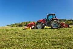Lavoro agricolo Trattore rosso che falcia il prato, repubblica Ceca L'agricoltore ha raccolto il fieno Immagine Stock Libera da Diritti