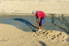 Lavoro asiatico dell'agricoltore duro Fotografia Stock Libera da Diritti