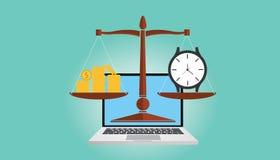 Lavoro dal calcolo di tariffa oraria illustrazione di stock