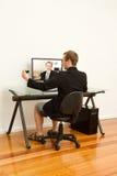 Lavoro dal vestito domestico confortevolmente Fotografie Stock