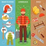 Lavoro del boscaiolo Vertical Banners Set Fotografia Stock Libera da Diritti