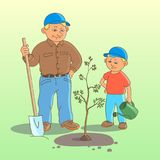 Lavoro del figlio e del padre royalty illustrazione gratis