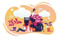 Lavoro del maschio delle persone di affari e dei caratteri femminili illustrazione vettoriale