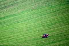 Lavoro del trattore sul campo Fotografia Stock