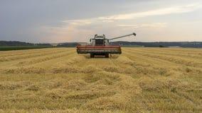 Lavoro dell'associazione della mietitrice del grano nel campo della Baviera Immagini Stock