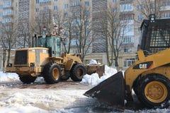 Lavoro dell'attrezzatura di rimozione di neve Fotografia Stock Libera da Diritti