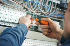 Lavoro dell'elettricista Fotografia Stock Libera da Diritti
