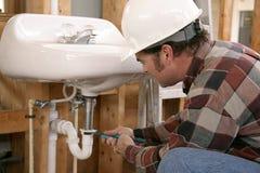 Lavoro dell'impianto idraulico della costruzione Fotografie Stock