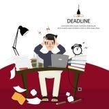 Lavoro dell'uomo dell'ufficio duro ed emicranie a causa del non completato di come previsto illustrazione vettoriale