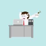 Lavoro dell'uomo di affari e sonnolento Fotografia Stock