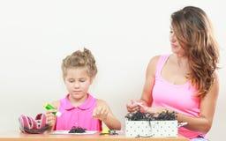 Lavoro della bambina con la mamma Immagini Stock