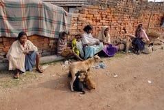 Lavoro della donna in Brick-field indiano Fotografia Stock Libera da Diritti