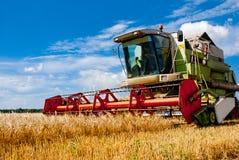 Lavoro della mietitrice nel campo per raccogliere grano Immagini Stock Libere da Diritti