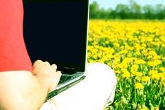 Lavoro della natura del computer portatile Fotografia Stock Libera da Diritti