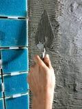 Lavoro delle mattonelle della parete Fotografia Stock Libera da Diritti